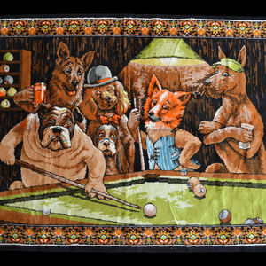 Other - Dogs playing pool wall rug tapestery vintage